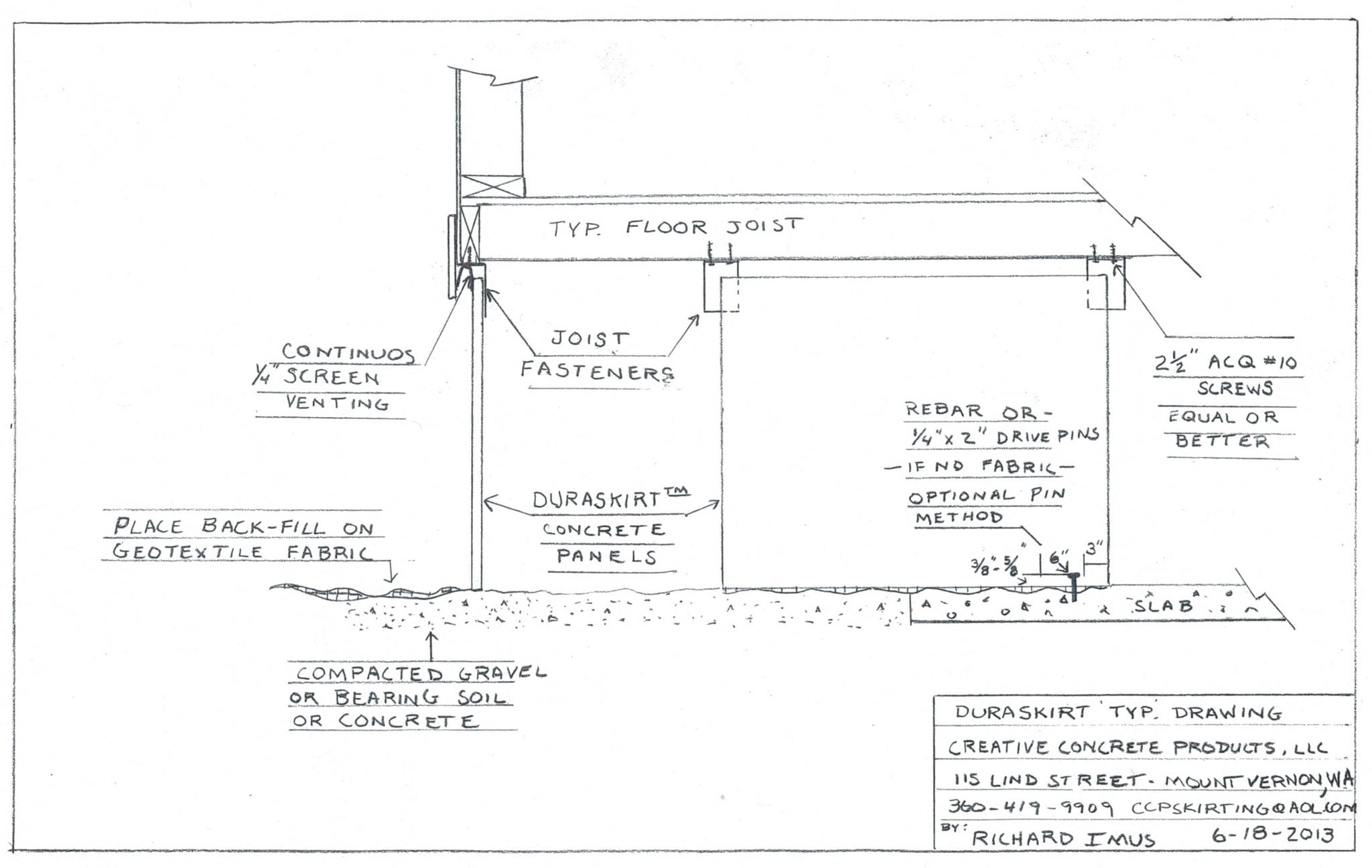 DURASKIRT™ Typical Mobile Home Skirting Installation Drawing.