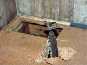 Steel Jack Stand through floor after earthquake